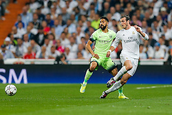 Gareth Bale of Real Madrid is challenged by Gael Clichy of Manchester City - Mandatory byline: Rogan Thomson/JMP - 04/05/2016 - FOOTBALL - Santiago Bernabeu Stadium - Madrid, Spain - Real Madrid v Manchester City - UEFA Champions League Semi Finals: Second Leg.