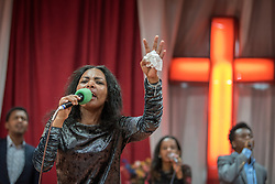 27 October 2019, Addis Ababa, Ethiopia: Choir sings during Sunday service at the Finfinne Oromo Mekane Yesus Congregation of the Ethiopian Evangelical Church Mekane Yesus. In a context where congregations did not use to be allowed to hold their services in any language but Amharic, the congregation today is one of some 60 Oromo speaking Mekane Yesus congregations in Addis Ababa. The service takes place on the first Sunday following political turmoil in the country, claiming dozens of lives.
