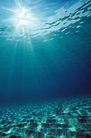 Sun shining down into open water, Grand Cayman, Cayman Islands