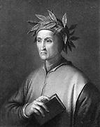 Dante Alighieri (1265-1321)  Italian poet. Portrait engraving