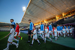 Players entering the stadium before friendly Football match between U21 national teams of Slovenia and England, on October 11, 2019 in Ljudski Vrt, Maribor, Slovenia. Photo by Blaž Weindorfer / Sportida