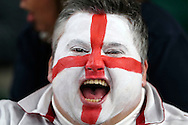an England fan with face paint cheering on before k/o. Rugby World Cup 2015 pool A match, England v Australia at Twickenham Stadium in London, England  on Saturday 3rd October 2015.<br /> pic by  John Patrick Fletcher, Andrew Orchard sports photography.