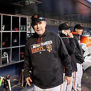 NEW YORK, NEW YORK - APRIL 30:  Manager Bruce Bochy #15 of the San Francisco Giants during the New York Mets Vs San Francisco Giants MLB regular season game at Citi Field on April 30, 2016 in New York City. (Photo by Tim Clayton/Corbis via Getty Images)
