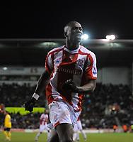 Stoke City/West Bromwich Albion Premier League 22.11.08 <br /> Photo: Tim Parker Fotosports International<br /> Mamady Sidibe Stoke City celebrates 1st goal