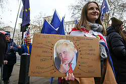 © Licensed to London News Pictures. 08/01/2020. London, UK.An anti-Brexit protester with a sign outside Downing Street ahead of BORIS JOHNSON'S meeting with President of the European Council URSULA VON DER LEYEN and MICHEL BARNIER, the EU chief negotiator later today. Photo credit: Dinendra Haria/LNP