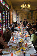 Lively weekend family lunches at the Jewel-like Shahzad Restaurant in Isfahan, Iran.