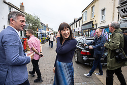 © Licensed to London News Pictures. 26/09/2021. EMBARGOED UNTIL 27 SEPTEMBER 2021 .Brighton, UK. PETER KYLE MP for Hove and Portslade (l)and Shadow Chancellor RACHEL REEVES visit shops and cafes on George Street in Hove . The second day of the 2021 Labour Party Conference , which is taking place at the Brighton Centre . Photo credit: Joel Goodman/LNP