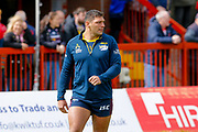 Leeds Rhinos winger Ryan Hall (5) warming up  during the Betfred Super League match between Hull Kingston Rovers and Leeds Rhinos at the Lightstream Stadium, Hull, United Kingdom on 29 April 2018. Picture by Simon Davies.