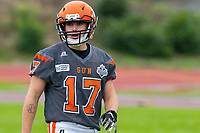 KELOWNA, BC - SEPTEMBER 22: Max Burke #17 of Okanagan Sun warms up against the Valley Huskers at the Apple Bowl on September 22, 2019 in Kelowna, Canada. (Photo by Marissa Baecker/Shoot the Breeze)