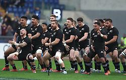 November 24, 2018 - Rome, Italy - Italy v New Zealand All Blacks - Rugby Cattolica Test Match.The traiditional haka at Olimpico Stadium in Rome, Italy on November 24, 2018. (Credit Image: © Matteo Ciambelli/NurPhoto via ZUMA Press)