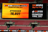 Scoreboard announce the match attendance during the Vanarama National League Play Off Final match between Tranmere Rovers and Forest Green Rovers at Wembley Stadium, London, England on 14 May 2017. Photo by Shane Healey.