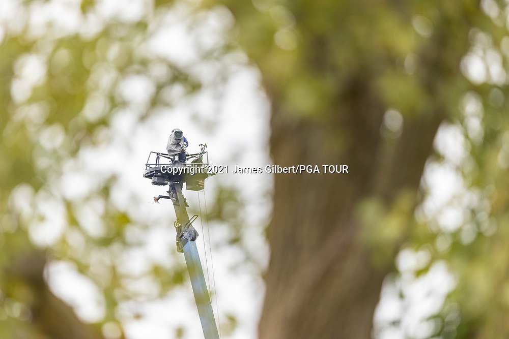 NEWBURGH, IN - SEPTEMBER 04: A broadcast camera crane overlooks the course during the third round of the Korn Ferry Tour Championship presented by United Leasing and Financing at Victoria National Golf Club on September 4, 2021 in Newburgh, Indiana. (Photo by James Gilbert/PGA TOUR via Getty Images)