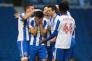 Brighton & Hove Albion central midfielder Beram Kayal is emotional after opening the scoring at 1-0 on his return after injury during the The FA Cup match between Brighton and Hove Albion and Milton Keynes Dons at the American Express Community Stadium, Brighton and Hove, England on 7 January 2017. Photo by Bennett Dean.