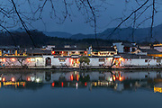 View of ancient Chinese architecture and houses in Hongcun village at night, UNESCO World Heritage Site, Anhui Province, China
