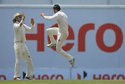 July 15, 2017 - Colombo, Sri Lanka - Zimbabwe's cricket captain Graeme Cremer, right, celebrates the dismissal of Sri Lanka's Kusal Mendis, (unseen), during the 2nd day's play of the only test cricket match between Sri Lanka and Zimbabwe in Colombo, Sri Lanka, Saturday, July 15, 2017. (Credit Image: © Tharaka Basnayaka/NurPhoto via ZUMA Press)