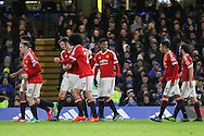 /Anthony Martial of Manchester United congratulates Jesse Lingard of Manchester United for his goal during the Barclays Premier League match between Chelsea and Manchester United at Stamford Bridge, London, England on 7 February 2016. Photo by Phil Duncan.