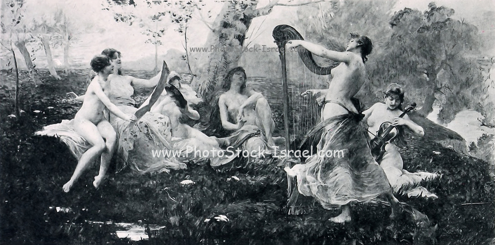 Nymphe [nymphs playing music in a garden] by Royer from Le Nu au Salon 1893 A collection of Nude photography published in Paris in 1908 by Societe nationale des beaux-arts (France). et Societe des artistes francais. Catalogues of nudes exhibited at the official Paris Salons. Risqué photography is material that is slightly indecent or liable to shock, especially as sexually suggestive.