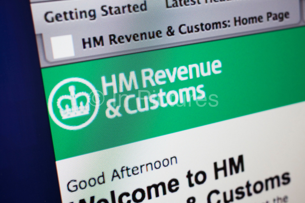 Computer screen showing the website for HM Revenue and Customs