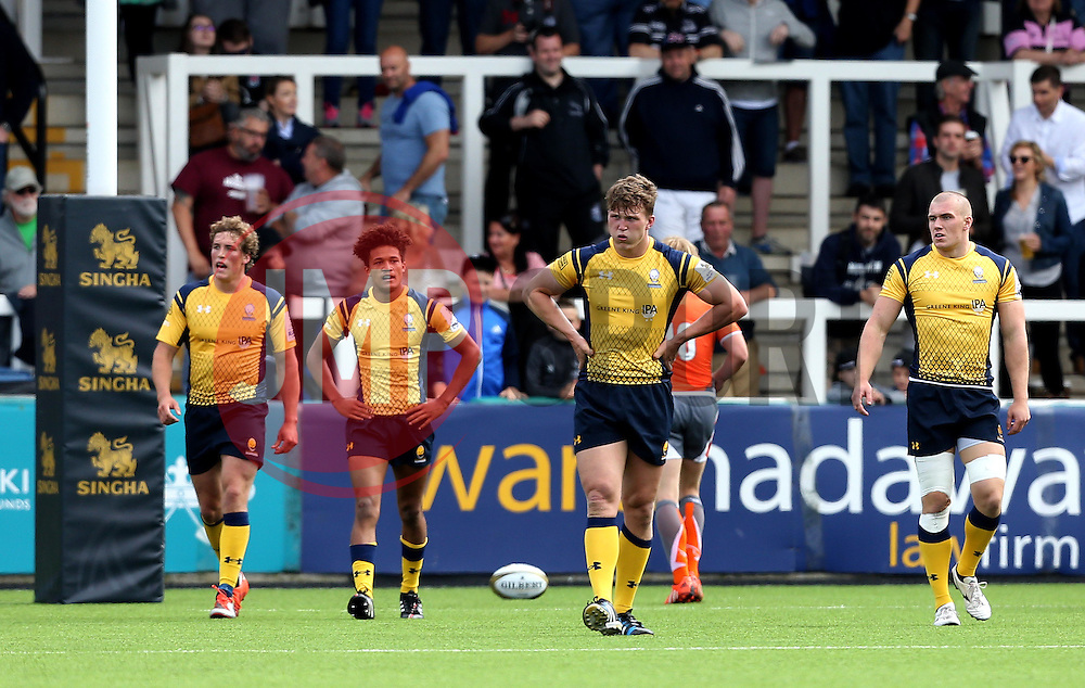 Worcester Warriors players look dejected after conceding a try - Mandatory by-line: Robbie Stephenson/JMP - 30/07/2016 - RUGBY - Kingston Park - Newcastle, England - Worcester Warriors v Newcastle Falcons - Singha Premiership 7s