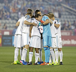 March 18, 2017 - Commerce City, Colorado, U.S - MINNESOTA UNITED FC gathers together before the start of the game at Dicks Sporting Goods Park Sat. night. The Rapids draw 2-2 to Minnesota United FC. (Credit Image: © Hector Acevedo via ZUMA Wire)