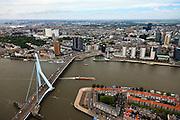 """Nederland, Zuid-Holland, Rotterdam, 22-05-2011;.Zicht op Rotterdam-centrum..De Erasmusbrug over de Nieuwe Maas in Rotterdam, rechts het Noordereiland, aan de Noordoever de hoogbouw van kantoren en woningen. Rechts van het midden de gebouwen van de Delfste Poort met het zwarte Nationale Nederlanden (oranje logo)aan het Weena, de boten van het Maritiem Museum. Links van het midden bij de brug de  zwarte woontorens """"De Hoge Heren"""", daarvoor de Hoge Erasmus, woon- en werktoren..View on Rotterdam center.The Erasmus Bridge over the Nieuwe Maas in Rotterdam, right the North Island, on the north shore high-rise offices and homes. (m, r) The buildings of the Delftse Poort with the black high rise of Nationale Nederlanden (orange logo), the boats of the Maritime Museum. luchtfoto (toeslag), aerial photo (additional fee required).foto/photo Siebe Swart"""