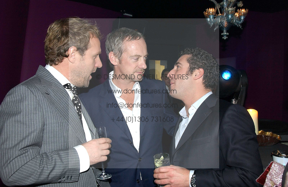Left to right, SIMON MILLS, ANTON BILTON and LUCA DEL BONO at a party hosted by Panerai and the Baglioni Hotel, 60 Hyde Park Gate, London on 6th December 2004.<br /><br />NON EXCLUSIVE - WORLD RIGHTS