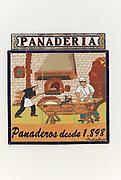 Panaderia bakery ceramic tiles picture village of Montejaque, Serrania de Ronda, Malaga province, Spain