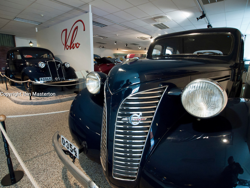 Vintage cars on display at Volvo Museum at Arendal in Gothenburg Sweden