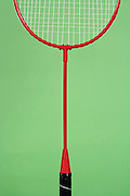 close up of a badminton racket