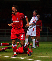 Photo: Daniel Hambury.Digitalsport<br /> Rushden & Diamonds v Swindon Town.  24/8/2004<br /> The Carling Cup<br /> <br /> Swindon Town's Matt Hewlett celebrates scoring the winning goal