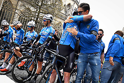 April 11, 2018 - Leuven, BELGIUM - Belgian Zico Waeytens of Verandas Willems - Crelan and Belgian Wout van Aert of Verandas Willems - Crelan pictured during a minute of silence as a tribute to the 23 year old cyclist Michael Goolaerts who died after a crash in the Paris-Roubaix race on Sunday 8 April, at the start of the 58th edition of the 'Brabantse Pijl' one day cycling race, 201,9 km from Heverlee, Leuven to Overijse, Wednesday 11 April 2018. BELGA PHOTO DAVID STOCKMAN (Credit Image: © David Stockman/Belga via ZUMA Press)