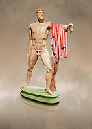 Painted colour verion of 2nd century AD Roman marble sculpture of Harmodius  from the Tyrannicide group,  a Roman copy of an early classical period Geek original, inv 6009, Naples Museum of Archaeology, Italy