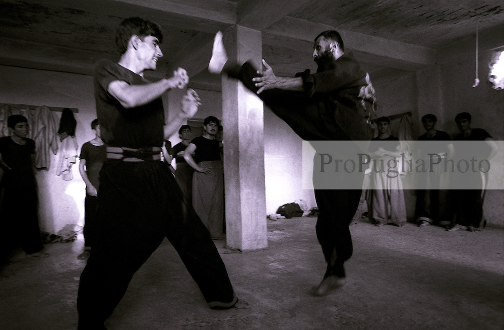 20 August 2005...Omar Ghul teaching Martial Arts tecnics at his KUNG FU training center in Khost.