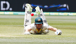 Australia's Shaun Marsh dives to make it back in his crease during day four of the Ashes Test match at the Adelaide Oval, Adelaide.
