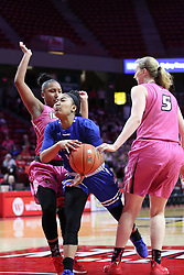 NORMAL, IL - February 10: Viria Livingston defends Tamara Lee during a college women's basketball Play4Kay game between the ISU Redbirds and the Indiana State Sycamores on February 10 2019 at Redbird Arena in Normal, IL. (Photo by Alan Look)