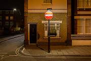 A No Entry sign positioned directly outside a house in the London borough of Lambeth, on 7th February 2017, in London, England.