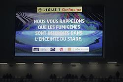 October 28, 2018 - Bordeaux, France - ILLUSTRATION - ECRAN GEANT - MESSAGE ANTI FUMIGENES (Credit Image: © Panoramic via ZUMA Press)