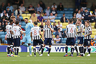 Goalkeeper Jordan Archer of Millwall (4th left) motivates and jokes around with his teammates before k/o. EFL Skybet football league one match, Millwall v Bradford city at The Den in London on Saturday 3rd September 2016.<br /> pic by John Patrick Fletcher, Andrew Orchard sports photography.