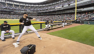 CHICAGO - JUNE 14:  Lucas Giolito #27 of the Chicago White Sox warms up in the bullpen prior to the game against the New York Yankees on June 14, 2019 at Guaranteed Rate Field in Chicago, Illinois.  (Photo by Ron Vesely)  Subject:  Lucas Giolito