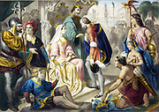 Christopher Columbus greeted by Ferdinand II of Aragon and Isabella of Castile on his return from his first voyage to the New World, February 1493. With him are Native Americans and treasures of the New World.  Print c1860.