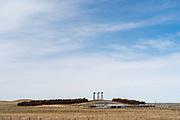 Windmills dot the skyline on a ranch in western Nebraska, north of Scottsbluff.