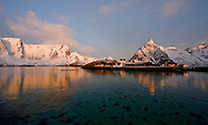 Early morning light on the mountains surrounding Reinefjord, with rorbuer (traditional fisherman's cottages) at Sakrisoy, in winter, viewed from from Olenilsoy, Moskenesoya, Lofoten Islands, Arctic Norway
