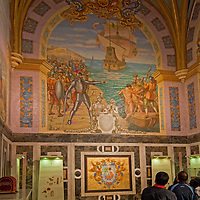 A mosaic mural dominates the Tomb of Francisco Pizarro in the Cathedral Church of Lima, Peru.
