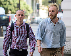 © London News Pictures. 14/09/2016. London, UK. SAM LUND-HARKET (left) and WILLIAM PITTIFER (right) arrive at Westminster Magistrates Court in London where they are two of nice Black Lives Matter campaigners who face charges relating to a protest at London City Airport on September 6, in which the protest group locked themselves together on the airport's runway.  Photo credit: Ben Cawthra/LNP