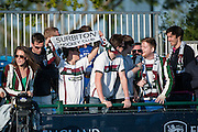 Surbiton supporters at the Investec Women's Hockey League Finals Weekend, Sonning Lane, Reading, UK on 13 April 2014. Photo: Simon Parker
