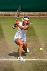 July 9, 2018 - London, England, U.S. - LONDON, ENG - JULY 09: DOMINIKA CIBULKOVA (SVK) during day seven match of the 2018 Wimbledon on July 9, 2018, at All England Lawn Tennis and Croquet Club in London,England. (Photo by Chaz Niell/Icon Sportswire) (Credit Image: © Chaz Niell/Icon SMI via ZUMA Press)