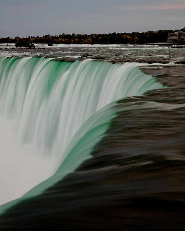 The Horseshoe Falls section of Niagara Falls seen from the Canadian side.