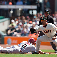 18 April 2009: Arizona Diamondbacks' Augie Ojeda makes it back to the first base against San Francisco Giants' Travis Ishikawa during the San Francisco Giants' 2-0 loss to the Arizona Diamondbacks at AT&T Park in San Francisco, CA.