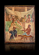 Detail of the Roman fresco wall painting of all the characters in the story of Admetus who, aided by Apollo made the Fates agree not to take Admetus on his 'death day' if he could find someone else to replace him, his wife, Alcestis, dies instead of Admetus but as she decends into the Underworld he discovers that he no longer wants to live without her, Pompeii House of the Tragic Poet, inv 9026, Naples National Archaeological Museum, black background .<br /> <br /> If you prefer to buy from our ALAMY PHOTO LIBRARY  Collection visit : https://www.alamy.com/portfolio/paul-williams-funkystock - Scroll down and type - Roman Fresco Naples  - into LOWER search box. {TIP - Refine search by adding a background colour as well}.<br /> <br /> Visit our ROMAN ART & HISTORIC SITES PHOTO COLLECTIONS for more photos to download or buy as wall art prints https://funkystock.photoshelter.com/gallery-collection/The-Romans-Art-Artefacts-Antiquities-Historic-Sites-Pictures-Images/C0000r2uLJJo9_s0