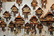 Cuckoo clocks for sale at Souvenir shop, Titisee, Neustadt, (Black forest Schwarzwald), Baden-Württemberg, Germany